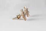 14k Rose Gold Diamond Pave' Starburst Stud Earrings