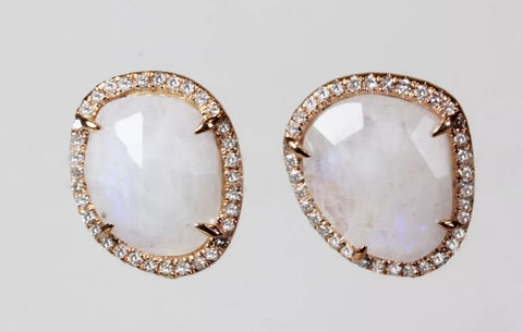 14k Rose Gold Pave' Diamond Moonstone Stud Earrings