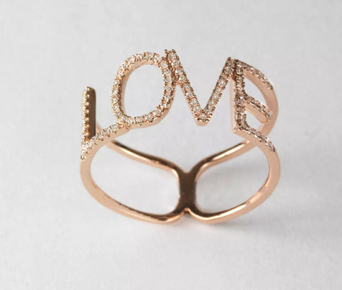 14k Diamond Pave' LOVE Ring
