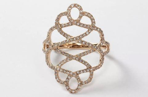 14k Pave' Scroll Ring