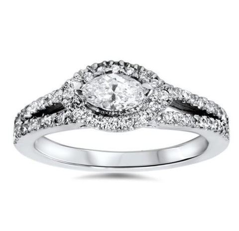 1ct Marquise Diamond Halo Split Shank Engagement Ring White Gold