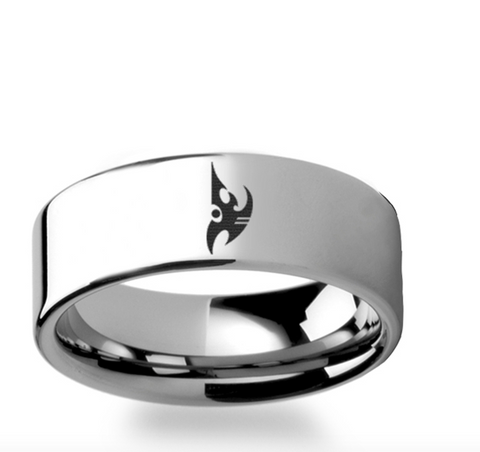 Starcraft 2 Legacy of the Void Protoss Symbol Polished Tungsten Engraved Ring Jewelry - 4mm - 12mm