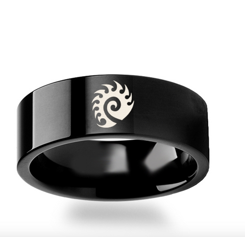 Starcraft 2 Heart of the Swarm Zerg Symbol Polished Black Tungsten Engraved Ring Jewelry - 4mm - 8mm