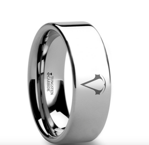 Assassins Creed Polished Tungsten Ring 8mm