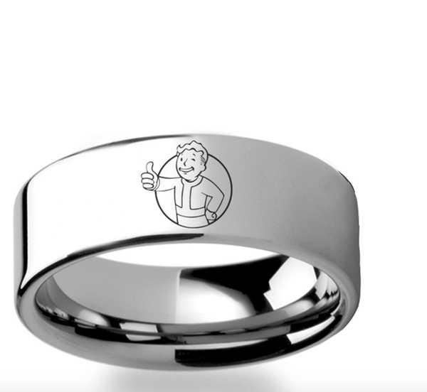 Fallout 4 Wedding Ring.Fallout 4 Vault Boy Vault Tec Mascot Symbol Polished Tungsten Engraved Ring Jewelry 4mm 8mm