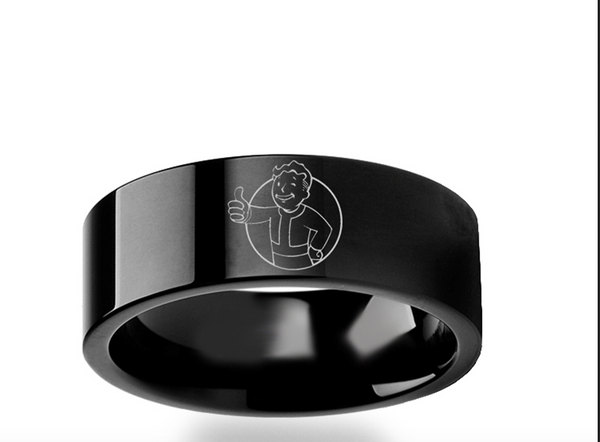 Copy Of Fallout 4 Vault Boy Black Tungsten Ring 4mm 8mm
