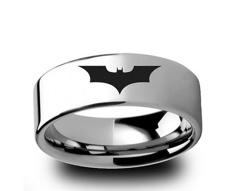 Batman Dark Knight Tungsten Ring Polished Wedding Band