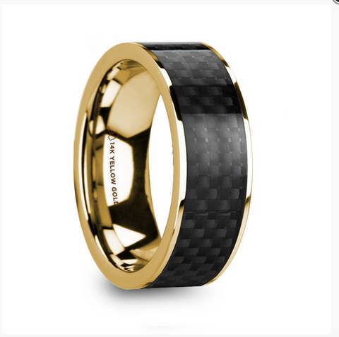 Polished 14k Yellow Gold Men's Wedding Ring with Black Carbon Fiber Inlay - 8mm