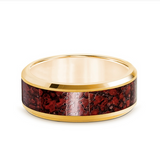 Beveled Polished 14K Yellow Gold Red Dinosaur Bone - 8mm