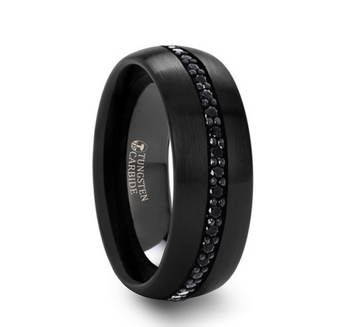 Black Tungsten Ring with Black Sapphires - 8mm