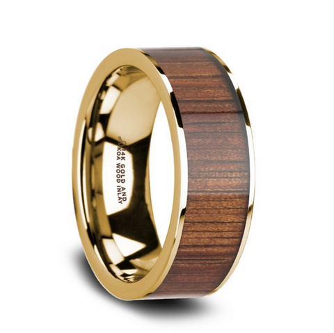 14K Pipe Cut Yellow Gold Ring Wedding Band with Rare Koa Wood Inlay and Polished Edges - 8mm