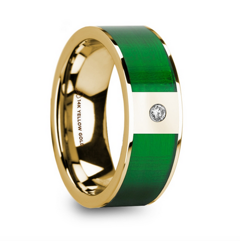 Polished 14k Yellow Gold & Textured Green Inlay Men's Wedding Ring with Diamond - 8mm
