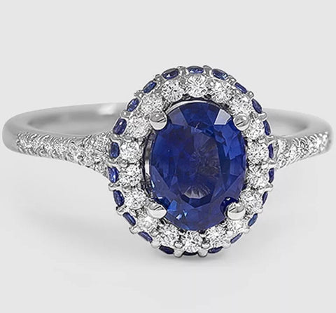 2 20 ct Oval Blue Sapphire Lab Created Engagement Ring set in 14k Gold