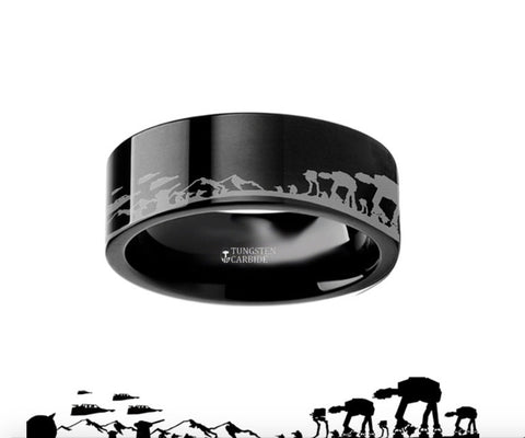 Hoth Battle Star Wars Alliance Black Tungsten Engraved Ring - 4mm - 8mm