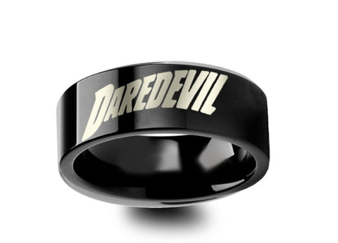 Daredevil Superhero Symbol Engraved Black Tungsten Ring