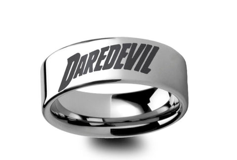 Daredevil  Symbol Engraved Polished Tungsten Ring