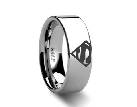 Superman Symbol Polished Tungsten Engraved Ring Jewelry - 4mm - 8mm