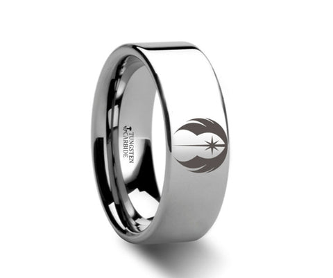 Jedi Order Symbol  Polished Tungsten Engraved Ring - 4mm - 8mm