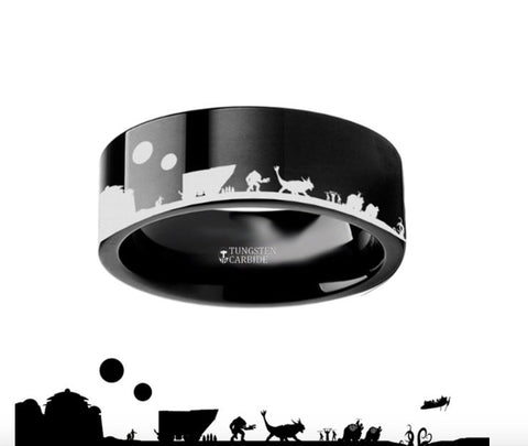 Tatooine Star Wars Black Tungsten Engraved Ring - 4mm - 8mm