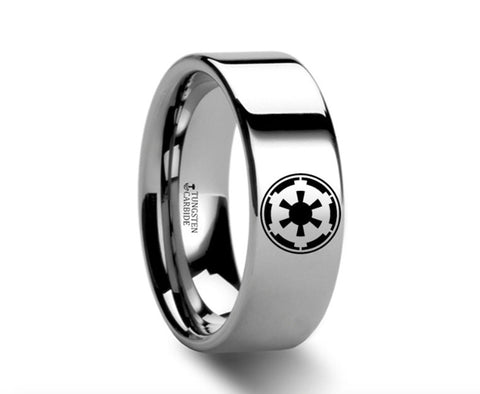Sith Imperial Emblem Polished Tungsten Engraved Ring  - 4mm - 12mm