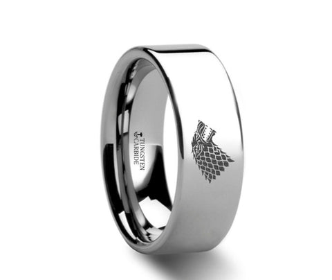 Game of Thrones Wolf Winter is Coming  Polished Tungsten Engraved Ring - 4mm - 8mm