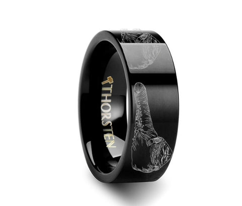 Jabba the Hutt Star Wars Black Tungsten Engraved Ring - 4mm - 8mm