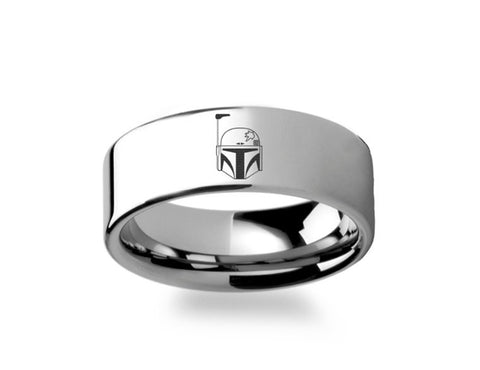 Boba Fett  Polished Tungsten Engraved Ring Jewelry - 4mm -8mm