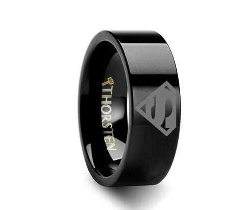 Superman Symbol BlackTungsten Engraved Ring Jewelry - 4mm - 8mm