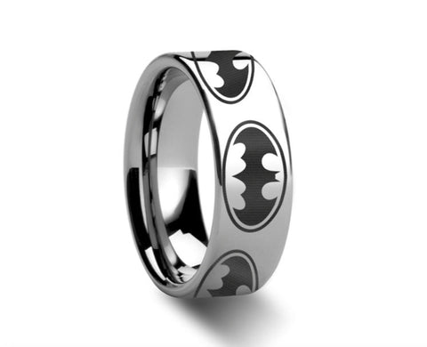 Batman Dark Knight Polished Tungsten Engraved Ring - 4mm - 8mm