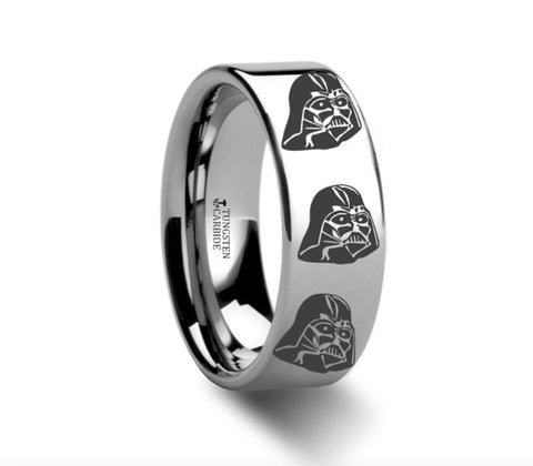 Darth Vader Polished Tungsten Engraved Ring - 4mm - 8mm