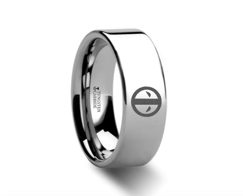 Deadpool Symbol Polished Tungsten Engraved Ring  - 4m-8mm
