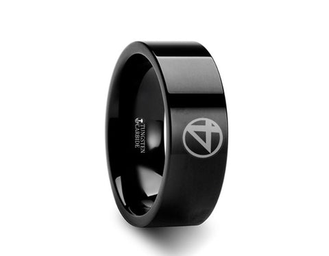 Fantastic Four Black Tungsten Engraved Ring - 4mm - 8mm