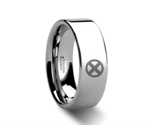 X Men Symbol Polished Tungsten Engraved Ring Jewelry - 4mm - 8mm