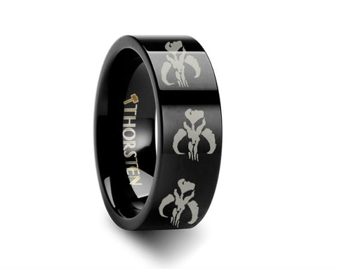 Mandalorian Symbol Black Tungsten Engraved Ring  - 4mm - 8mm