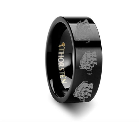 Dinosaur Ring Mammoth Ring Prehistoric Paleo Engraved Black Tungsten Ring - 4mm - 8mm