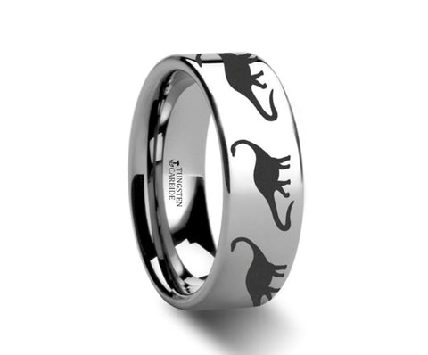 Dinosaur Brachiosaurus Ring Prehistoric Paleo Engraved Flat Polished Tungsten Ring - 4mm - 8mm