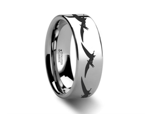 Dinosaur Ring Tetradactyl Engraved Polished Tungsten Ring - 4mm - 8mm