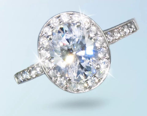2.5ct Oval Lab Diamond Halo Engagement/Right Hand Ring. Set in rhodium plated sterling silver