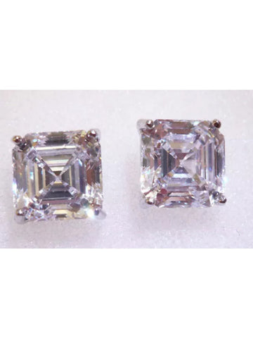3ct Moissanite Asscher Cut Stud Earrings set in 14k White Gold.