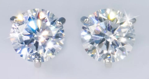 3 ct Round Brilliant Martini Set Moissanite Stud Earrings.