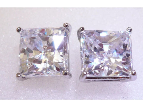 3 ct Princess cut Moissanite stud earrings. Set in sterling