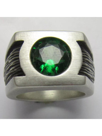 Green Lantern Inspired Men's Ring. Sterling Silver with Lab Emerald.