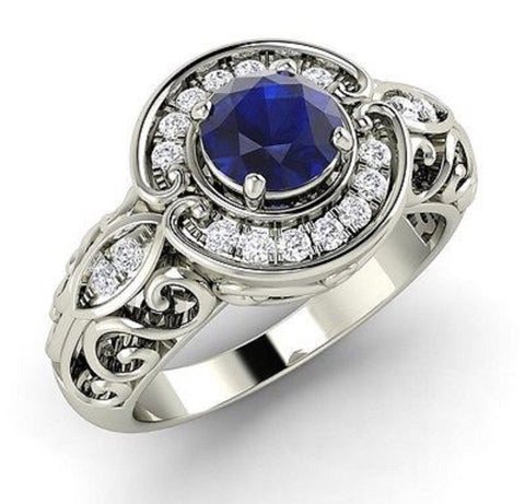Art Deco 1.76ct Blue Sapphire and Diamond Ring set in Rhodium Plated Sterling