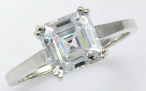 Asscher Cut 2ct Lab Created Diamond Engagement/Right Hand Ring