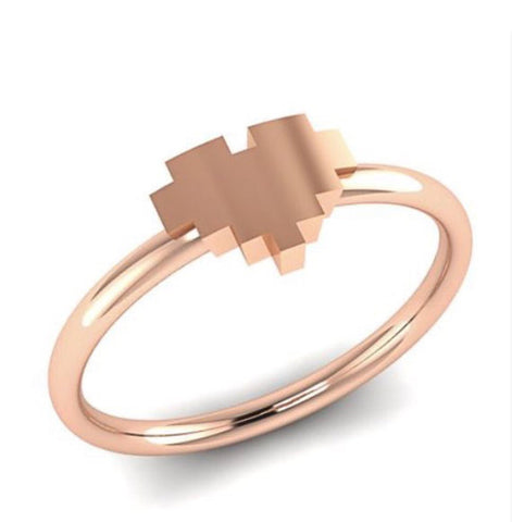 Pixel Heart Ring in 14k Gold