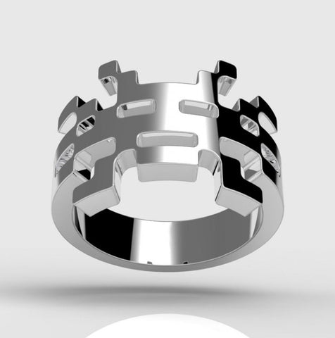Space Invader Inspired Rhodium Plated Sterling Silver Ring