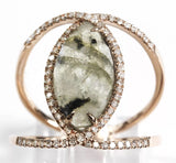 Labradorite and natural diamond cage ring set in 14k rose gold