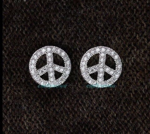 Peace Sign earrings.18k lab simulated diamond micro pave