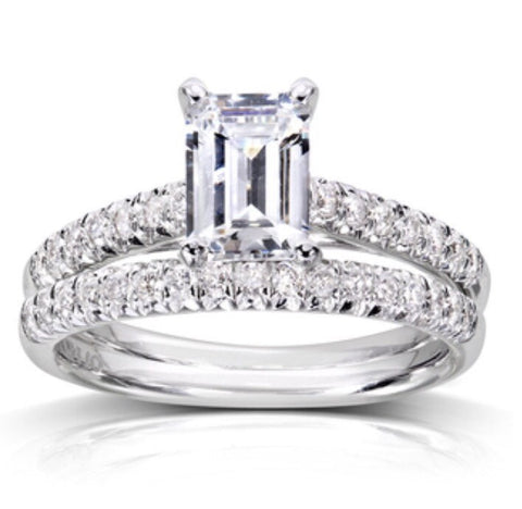 Emerald cut Diamond Solitaire Wedding Set