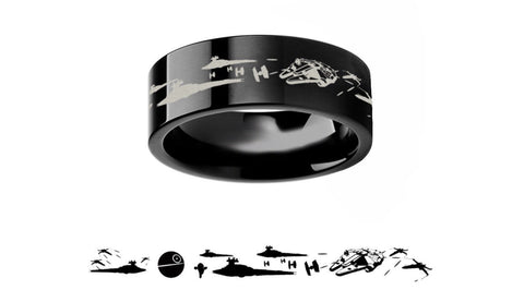 Star Wars inspired New Hope Death Star Battle 8mm Tungsten Carbide Men's Band